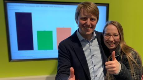 Alois Held (CSU) feierte den deutlichen Wahlsieg im Rathaus mit seiner Ehefrau Carina.