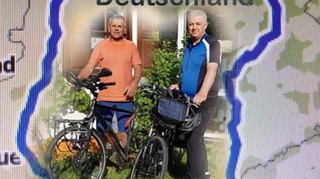 Unsere Grafik zeigt es: Deutschland quasi umrunden wollen Raimund Kraus (links) und Heinz Dietmayer im Juni mit dem Treckingrad.