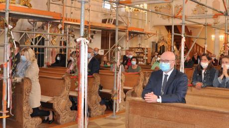 Corona-Krise, dazu die laufenden Renovierungsarbeiten: Unter besonderen Bedingungen wurde in Maria Vesperbild das Pfingstfest gefeiert.