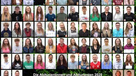 Coronabedingt ist das Gruppenfoto der Abiturienten des aktuellen Abschlussjahrgangs des Simpert-Kraemer-Gymnasiums aus Einzelfotos zusammengefügt. Rechts unten im Bild sind Schulleiter Norbert Rehfuß und Oberstufenbetreuerin Dagmar Schmid zu sehen.