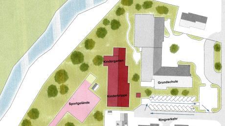 So in etwa war das Projekt Grundschule/neuer Kindergarten mit Kinderkrippe in Deisenhausen angedacht. Nun muss umgeplant werden, weil die Gemeinde Wiesenbach aus dem Projekt aussteigt.