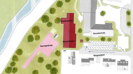 Der Neubau eines Kindergartens (rotes Dach) an der Grundschule Deisenhausen kommt auf den Prüfstand. Die Gemeinderäte von Bleichen stellten die Planung kürzlich vollständig infrage. Nun soll das Thema in einer separaten Sitzung aufgearbeitet werden.