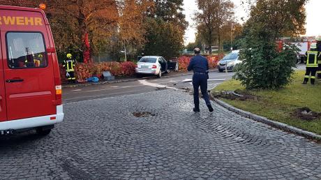 Hinweisschilder und ein Verkehrszeichen fuhr ein Autofahrer um, bevor er mit seinem Wagen in einem Zaun in Balzhausen hängen blieb.
