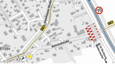 Die Grafik zeigt die Zufahrt Ellzee über die Ichenhauser Straße sowie die Sperrung der Bahnhofstraße.