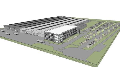 Die Firma Kardex Remstar in der Marktgemeinde Neuburg erweitert das Firmenareal um drei Produktionshallen. Die Hallenerweiterung ist in diesem 3D-Modell dunkelgrau dargestellt.