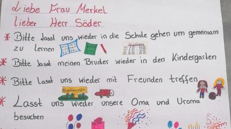 Viel Mühe haben sich Clara, Leonie und Maximilian gegeben für einen Brief aus dem Corona-Alltag an Angela Merkel und Markus Söder.
