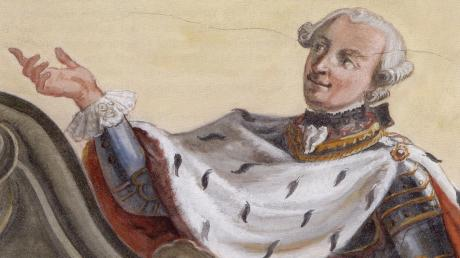 Fürst Kraft Ernst von Oettingen-Wallerstein (Bild) hatte eine besondere Beziehung zum heiligen Valentin. Die Darstellung stammt von einem Deckenfresko in der Pfarrkirche St. Vitus Balzhausen, 1768 gemalt von Johann B. Bergmüller.