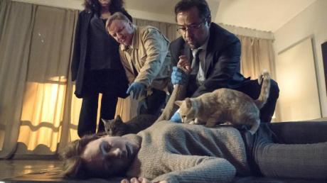 Mord in der Nachbarschaft von Staatsanwältin Wilhelmine Klemm (Mechtild Großmann, l). Thiel (Axel Prahl) und Boerne (Jan Josef Liefers) untersuchen die tote Patrizia Merkens (Lilia Lehner).
