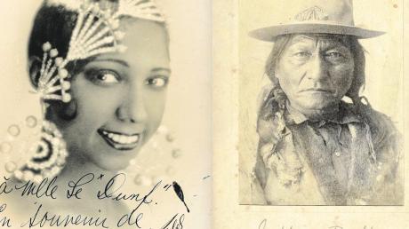 Autogramm-Postkarten der Tänzerin Josephine Baker und des Indianerhäuptlings Sitting Bull.