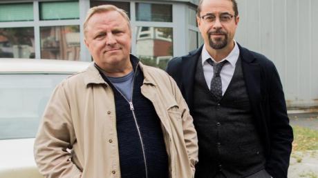 Axel Prahl als Kommissar Thiel (l) und Jan Josef Liefers als Professor Karl-Friedrich Boerne sind die Quotenkönige beim «Tatort».