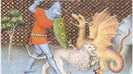 Eine französische Buchillustration zeigt, wie Ritter Iwein mithilfe seines Löwens gegen einen Drachen kämpft.