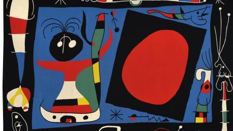 Joan Miró: Komposition Nr.1, Frau am Spiegel, 1966,Manufacture des Gobelins,306 mal 455 Zentimeter, Wolle,Sammlung Mobilier national
