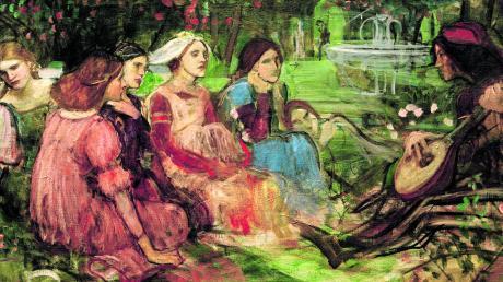 """Komm in den selbst gewählten Rückzugsort und erzähle: Im """"Decamerone"""" macht eine kleine Gesellschaft das Beste aus der Situation, wie dieses Gemälde des Malers John William Waterhouse zeigt."""
