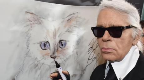 Der Modedesigner Karl Lagerfeld steht 2015 bei der Vernissage «Corsa Karl und Choupette» für seinen Fotokalender im Palazzo Italia an einer Zeichnung seiner Katze.