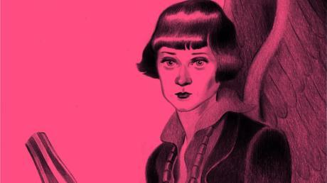 Emmy Hennings mit einer Marionette in jenem Bischofsornat, das sie für die Auftritte des Dadaisten Hugo Ball schuf: Der Zeichner José Lázaro schuf sein Porträt der Künstlerin nach einer zeitgenössischen Fotografie.