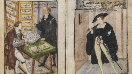"""Zweimal Matthäus Schwarz in repräsentativem Gewand, links mit seinem (stehenden) Dienstherrn Jakob Fugger in der Goldenen Schreibstube der Firmenzentrale. Die Miniaturen sind seinem über 40 Jahre hinweg geführten """"klaidungsbuechlin"""" entnommen."""