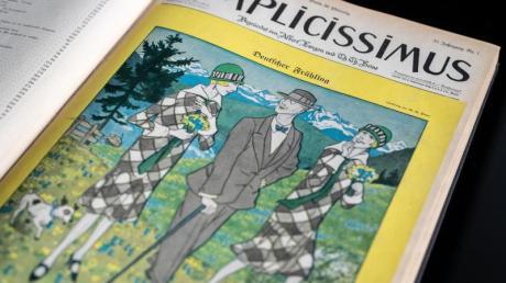 """Eine Zeichnung von Thomas Theodor Heine mit dem Titel """"Deutscher Frühling"""" auf dem Titel der Wochenzeitschrift «Simplicissimus»."""