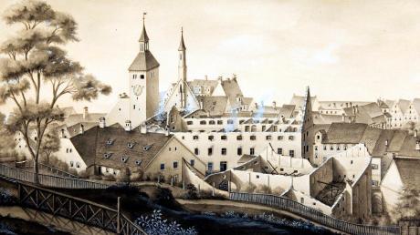Die Ruine der 1874 durch Brand zerstörten Gebäude des Heilig-Geist-Spitals auf einer Zeichnung von J. Poll aus dem gleichen Jahr.