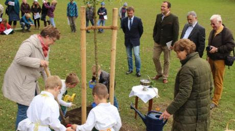 Die Kleinen aus dem Kindergarten waren zusammen mit Susann Huttenloher (links) und Luise Vogel zumindest symbolisch an der Pflanzung beteiligt. Beobachtet werden sie dabei von Alexander Enthofer, Thomas Eichinger, Konrad Albrecht und Heinz Drott (hinten von links).