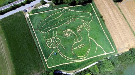 Das Labyrinth mit dem Konterfei Martin Luthers von der Luft aus fotogrefiert.
