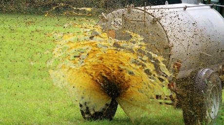 Ein Landwirt hat im Bereich Erpfting eine Güllespur hinterlassen.