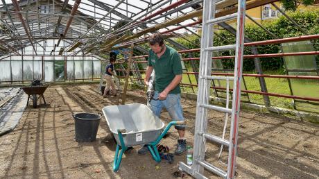 In der Gärtnerei Streicher in Utting hat das Hagelunwetter von Pfingstmontag großen Schaden hinterlassen. Josef Streicher bereitet die Fugenspritze vor.