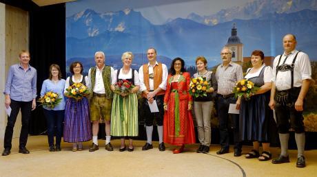 Das Hallenteam (von links): Alfons und Gitti Schelkle, Gitti und Alexander Graf, Heidrun und Fred Höbel, Margit Horner-Spindler Franziska und Edwin Eldner, Marlies und Walter Dirr. Sie wurden bei der Feier besonders ausgezeichnet.