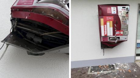 Unbekannte haben in der Flößerstraße in Reichling einen Zigarettenautomaten gesprengt.