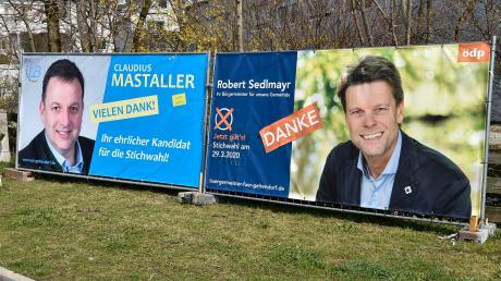 """In Geltendorf ist nicht zu übersehen, wer im Rennen um das Bürgermeisteramt noch mit von der Partie ist: Gemeinderat Claudius Mastaller von den """"Unabhängigen Bürgern"""" und Zweiter Bürgermeister Robert Sedlmayr (ÖDP)."""