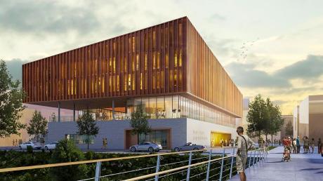 So soll das Kulturzentrum im Landsberger Baugebiet am Papierbach vom künftigen Lady-Herkomer-Steg aus betrachtet, aussehen.