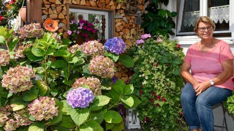 Roswitha Steinrötter inmitten einer Pracht von Hortensien. In ihrem Garten in Rott gibt es viel zu entdecken.