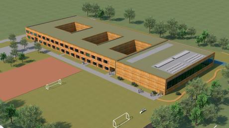 An das bestehende Gebäude der Montessorischule in Kaufering soll eine Turnhalle angebaut werden (rechts im Bild).