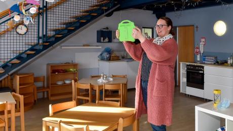 Stephanie Mößmer vom BRK-Kindergarten Denklingen bietet derzeit Online-Führungen für Eltern an.