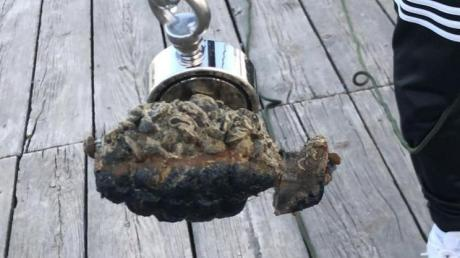 Dieses im Ammersee in Utting gefundene Metallteil entpuppte sich als Handgranate aus dem Zweiten Weltkrieg.