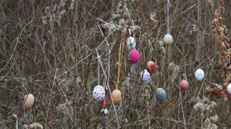 Was hat es mit den Eiern auf sich, die in Scheuring entlang eines beliebten Spazierwegs in den Büschen hängen? Die Aufklärung liefert die Künstlerin Katrin Engel-Meyer.