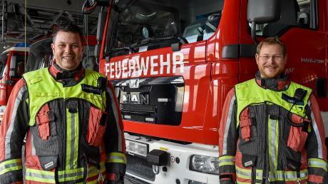 Markus Obermayer ist neuer Kommandant der Landsberger Feuerwehr. Beruflich ist der 41-Jährige im Bauhof der Stadt beschäftigt. Rechts: Zweiter Kommandant Christian Wind.