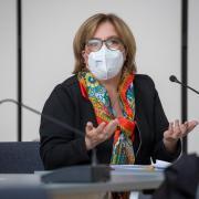 Dr. Birgit Brünesholz bei einem Pressetermin vergangene Woche. Seit Anfang April leitet die 53-Jährige offiziell das Gesundheitsamt.