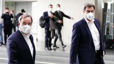 Jetzt ist die Entscheidung gefallen: Armin Laschet (links) wird Kanzlerkandidat der CDU/CSU. Markus Söder bleibt in Bayern.