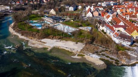 Das Luftbild zeigt deutlich die Veränderungen am Lechstrand in Landsberg.