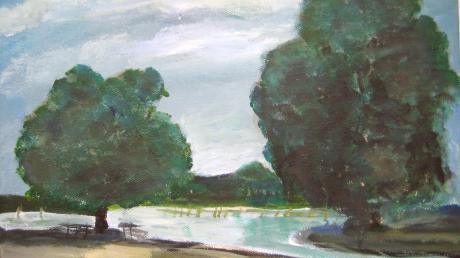 """Um den Baum links geht es am Montag im Gemeinderat. Hier ist er dargestellt auf dem Gemälde """"Zwei Wächter in den Seeanlagen"""" (24 mal 30 Zentimeter, Acryl, Öl auf Leinwand) von Annunciata Foresti."""