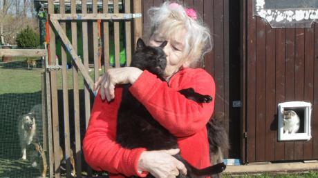Roswitha Fuchs auf ihrem Gelände in Göggingen mit einigen ihrer geretteten Katzen und Hunde, auf ihrem Arm hat sie Kater Ringo, der freiwillig in ihre Arme springt.
