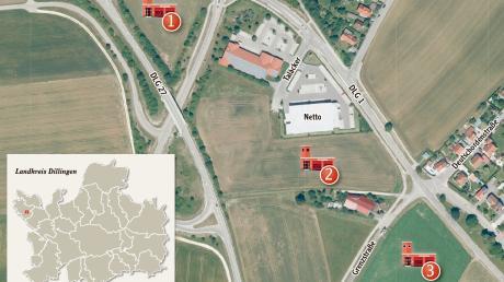 Diese drei möglichen Standorte in Ballhausen sind für das neue Gerätehaus in Syrgenstein angedacht: neben dem Kreisverkehr (1), hinter dem Netto-Markt (2) und auf einer Wiese daneben (3).