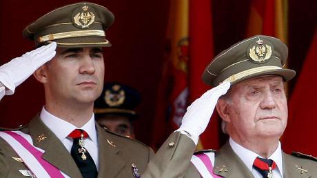 Vater und Sohn, Juan Carlos und Felipe, im Jahr 2008: Die Beziehung der beiden litt unter Affären und Skandalen so sehr, dass Felipe mit seinem Vater brach.