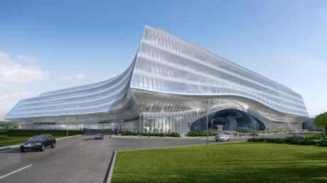 So soll das fertige Innovationszentrum in Moskau auf dem Gebiet des Skolkov aussehen, wenn es fertig ist. Gartner baut den Bürokomplex der Sber nach den Plänen des Architekturbüros Zaha Hadid.