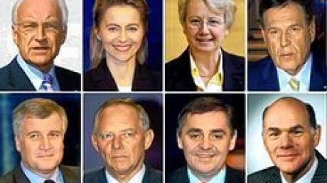 Als Kandidaten der CDU/CSU für ein Ministeramt in einer großen Koalition gelten: (obere Reihe, l-r) Bayerns Ministerpräsident und CSU-Chef Edmund Stoiber, Niedersachsens Sozialministerin Ursula von der Leyen (CDU), die Bundestagsabgeordnete und frühere baden-württembergische Kultusministerin Annette Schavan (CDU) und der CSU-Landesgruppenchef Michael Glos, (untere Reihe, l-r) der stellvertretende CSU-Vorsitzende und frühere Gesundheitsminister Horst Seehofer, der stellvertretende Unionsfraktionsvorsitzende und frühere Innenminister Wolfgang Schäuble (CDU), der saarländische Ministerpräsident Peter Müller (CDU) und Parlamentsvizepräsident Norbert Lammert (CDU). Foto: d
