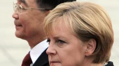 Bundeskanzlerin Angela Merkel während einer Veranstaltung in der Universität Nanjing.