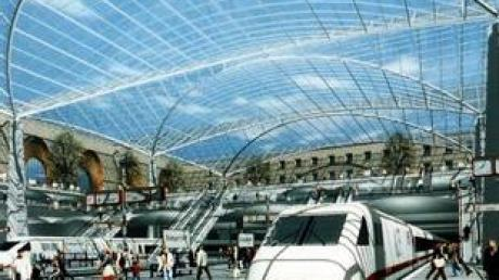 """Die Computergrafik zum Bahnprojekt """"Stuttgart 21"""" zeigt die Umgestaltung des Stuttgarter Hauptbahnhofs in einen Tiefbahnhof."""