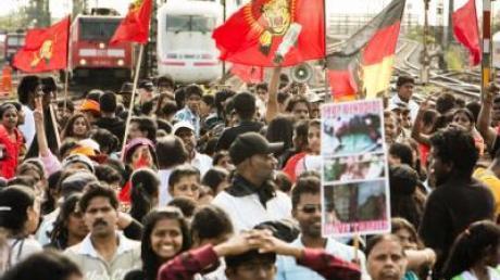 Tamilen protestieren in deutschen Städten