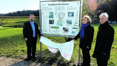 Abschluss der Baumaßnahme zum Hochwasserschutz in Druisheim: Vize-Landrat Franz Oppel, Gudrun Seidel (Wasserwirtschaftsamt) und Bürgermeister Albert Lohner (von links) enthüllten eine Schautafel. Foto: Unflath