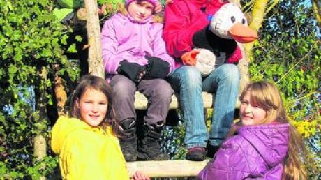 Erkundeten gemeinsam den herbstlichen Wald: (von oben links im Uhrzeigersinn) Jan, Ronja, Max, Nadine, Juliane, Emelie und Alina. Foto: Neumann-Mangoldt